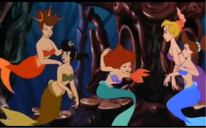 "In the opening scene introducing the marvels of Triton's Atlantica, Ariel's six older sisters are seen primping themselves in a posh dressing room for a musical number they are about the perform for their father. Ariel's six sisters are all stereotypically mapped as feminine with thin silhouettes, mascara-laden lashes, and perfect up-dos, parading around, painting on their makeup and placing finishing touches on their hair. Eventually, the curtain unrolls for their performance and in unison they sing to their father: ""Ah, we are the daughters of Triton / Great father who loves us and named us well!"" As they continue parading and dancing, Ariel's older sisters represent the existing expectation that women perform for the pleasure of a male viewer. This scene sets the stage for the further female ""performances"" the film will indulge. Photo Credit: The Little Mermaid. Ron Clements and John Musker. Buena Vista Pictures Distribution, Inc, 1989. Screen capture at 00:24:47."